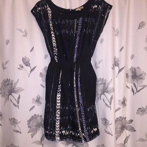 BeBop Black and Blue Print Dress Tie Waist Size S